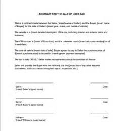 Used Vehicle Sales Agreement Template Used Car Sales Contract Sample Contracts