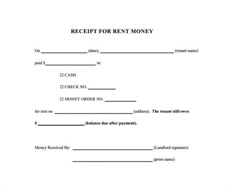 Template S For Paid Receipts by Rent Receipt Template 13 Free Documents In Pdf