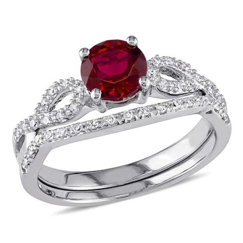 Ruby 6 8 Ct by 6 0mm Lab Created Ruby And 1 8 Ct T W Twist