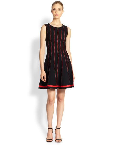 vertical design clothes rvn vertical stripe knit jacquard dress in red lyst