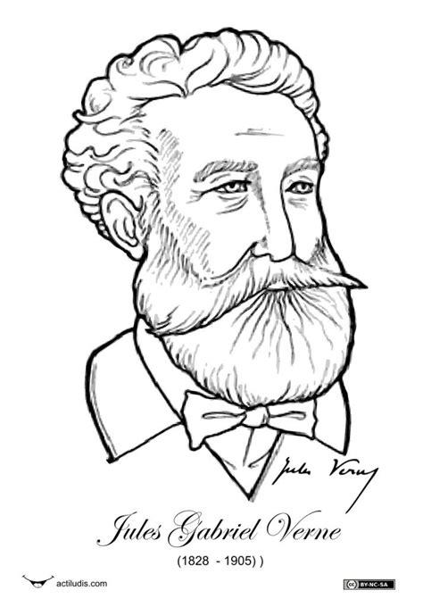 Julio Verne-CARICATURAS PARA COLOREAR | Verne | Julio