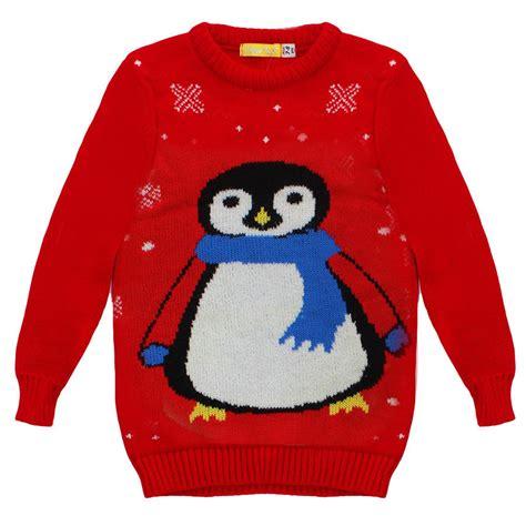 waitrose child christmas jumper new childrens winter junior penguin snowman jumper knitted sweater ebay