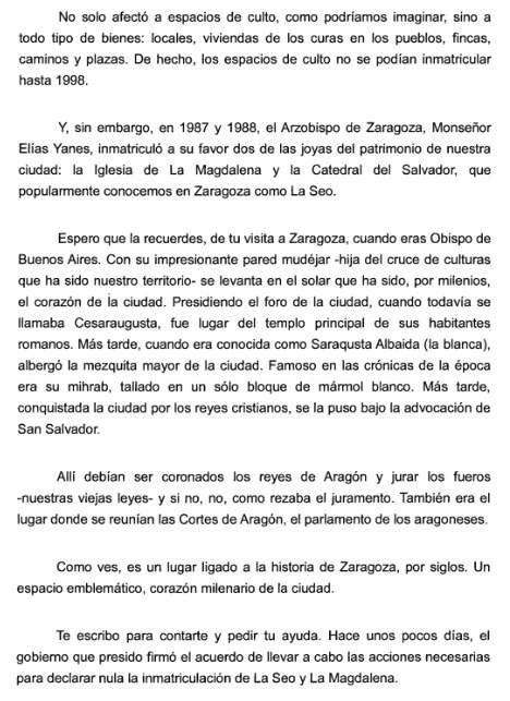 el alcalde de zaragoza le pide al papa ayuda por carta para recuperar la titularidad p 250 blica de