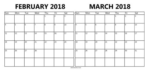 printable calendar 2018 february and march printable calendar february and march 2018 yspages com