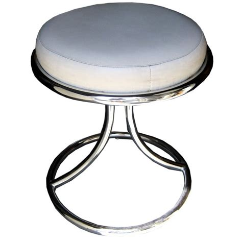 Chrome Vanity Stool mid century chrome vanity stool at 1stdibs