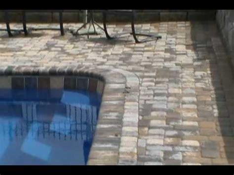 paver patio  brick coping   fiberglass pool