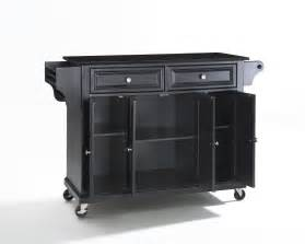 Island Kitchen Carts solid black granite top kitchen cart island in black efurniture mart