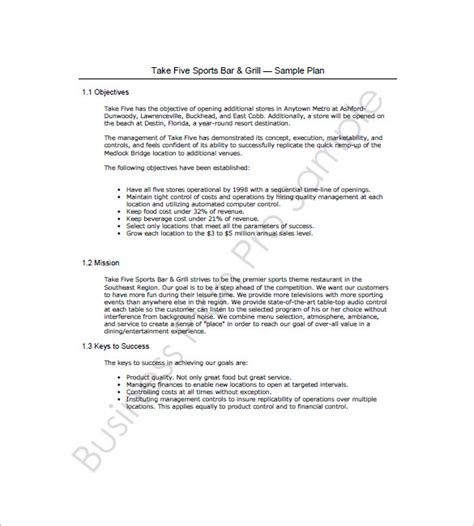 template business plan for a bar bar business plan template 11 free word excel pdf