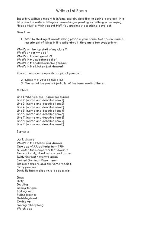 Resume Template For 9th Graders by Best 25 List Poem Ideas On Easy Poems How To