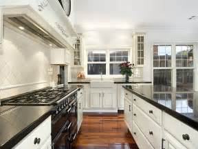 Classic galley kitchen design using floorboards kitchen photo 315739