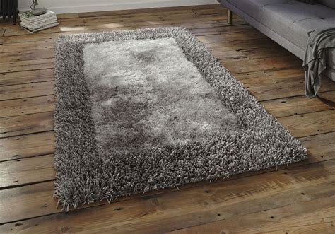 shaggy rug 2 silver grey high quality thick dense pile
