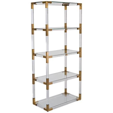 hayley 4 shelf clear acrylic open bronze brass bookcase