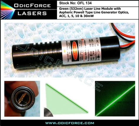 laser diode module line generator 5mw green 532nm laser line module with aspheric powell type line generator optics acc driver