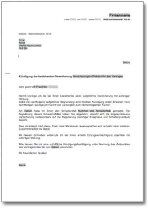 Musterbrief Beschwerde Versicherung K 252 Ndigung Einer Versicherung Wegen Misstrauen