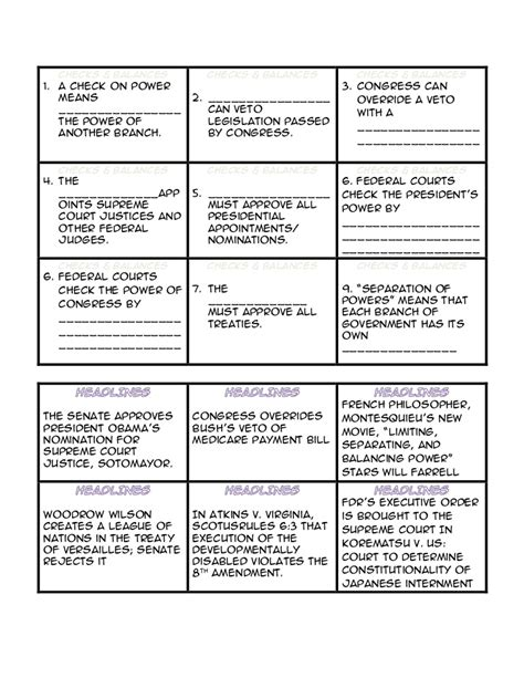 Checks And Balances Worksheet by Separation Of Powers Worksheet Worksheets Releaseboard