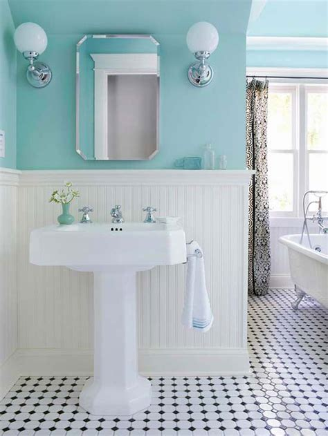 Black White And Blue Bathroom by Think Like A Decorator How To Use Surfaces And Materials