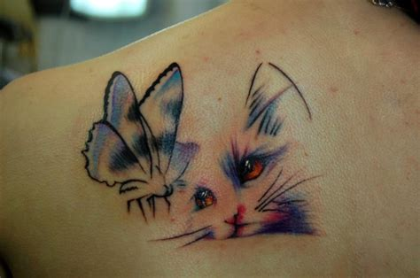 Cat Tattoo With Butterfly | freakishly adorable cat tattoos