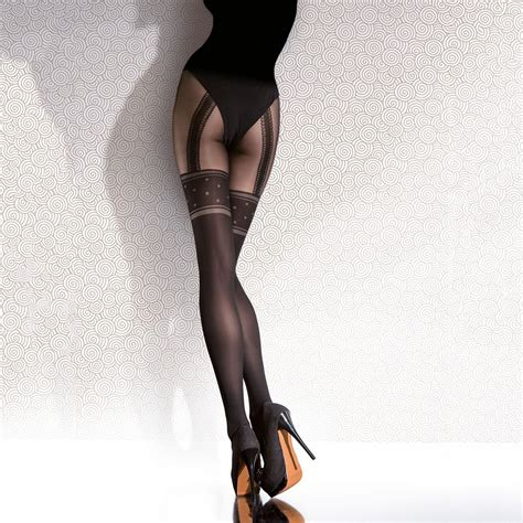co fiore fiore temedia opaque faux suspender tights at tights and