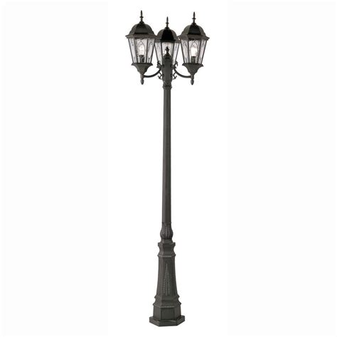 Lantern Post Light Outdoor Bel Air Lighting Cameo 3 Light Outdoor Black L Post With Water Glass 4719 Bk The Home Depot