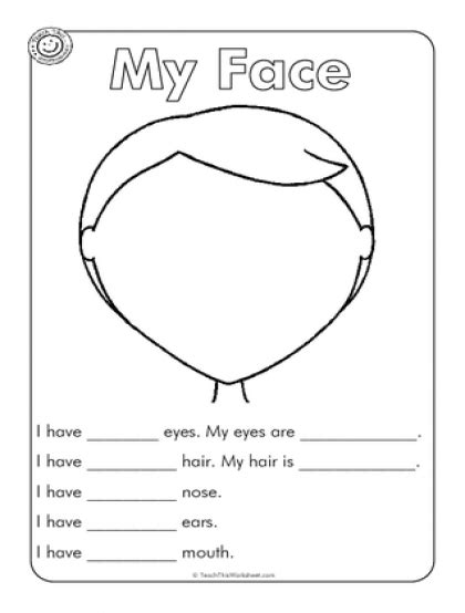 Kindergarten Activities My Face   of the face worksheet image search results