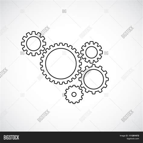 Sfu Cogs 100 Outline by Gears Cogs Teamwork Outline Design Vector Photo Bigstock