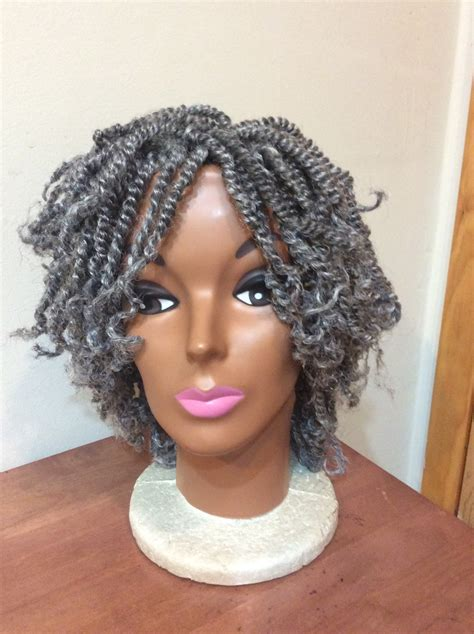 kinky twist silver hair braided wig kinky twist diva grey