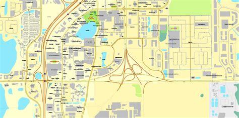 us map orlando florida orlando florida exact printable vector city plan