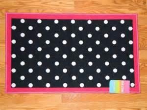 black white polka dot rug w pink border 24x39 quot non
