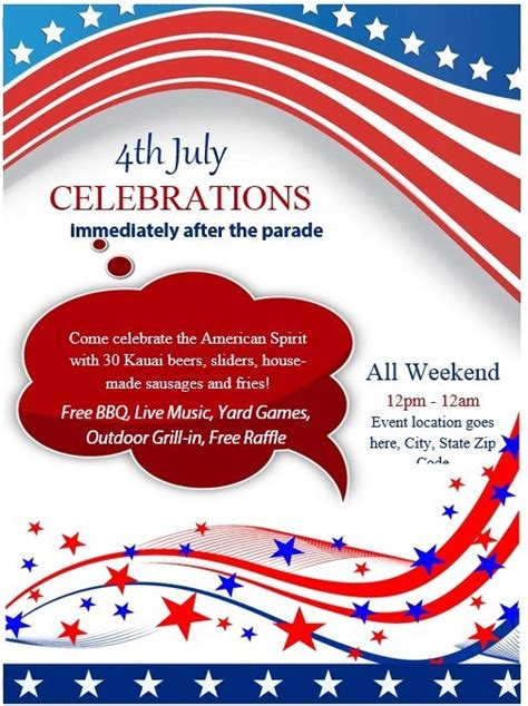 8 Free Sle 4th July Flyer Templates Printable Sles In July Flyer Template