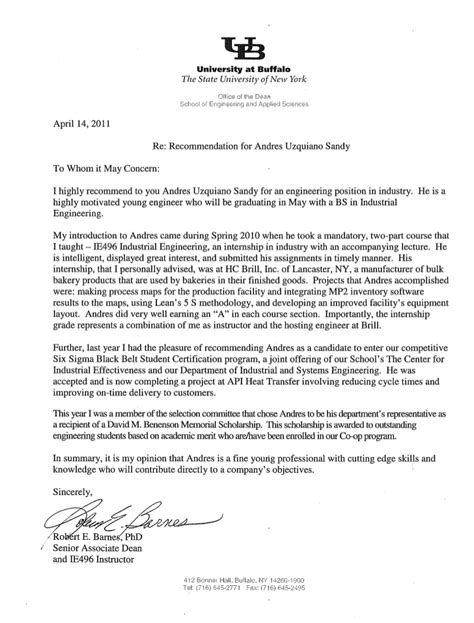 Student Letter Of Recommendation Academic Recommendation Letter