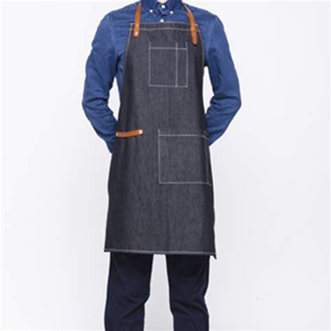 Appron Celemek Denim black blue denim bib apron tailor studio