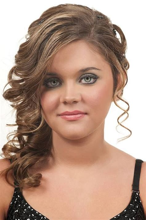 hairstyles side curls prom updo curly hairstyles with side bangs for ruond face