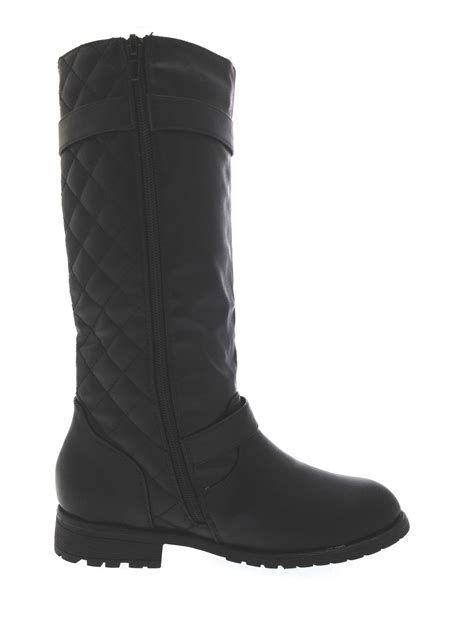 knee high quilted boots faux leather shoes