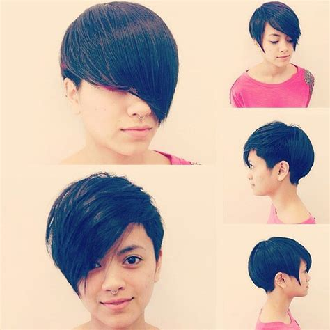 pixie crop with asymmetrical side swept bangs 21 gorgeous short pixie cuts with bangs styles weekly