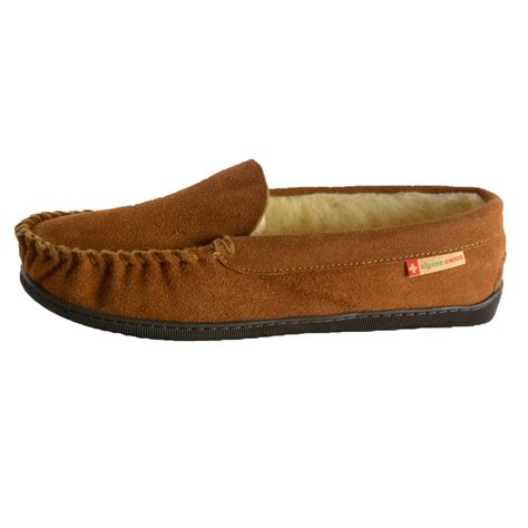 mens shearling moccasin slippers alpine swiss yukon mens suede shearling moccasin slippers