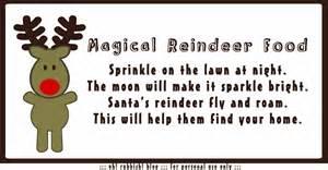 Magic reindeer food poem printable free printable magic reindeer food