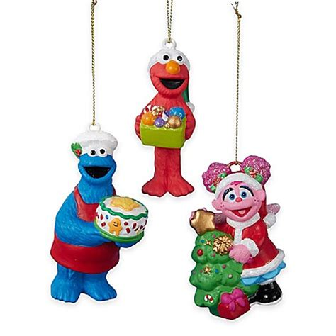 kurt adler christmas sesame yard characters kurt adler s sesame 174 3 ornament set bed bath beyond