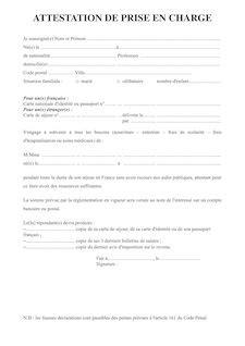 Lettre Type De Prise En Charge Pour Visa attestation de prise en charge