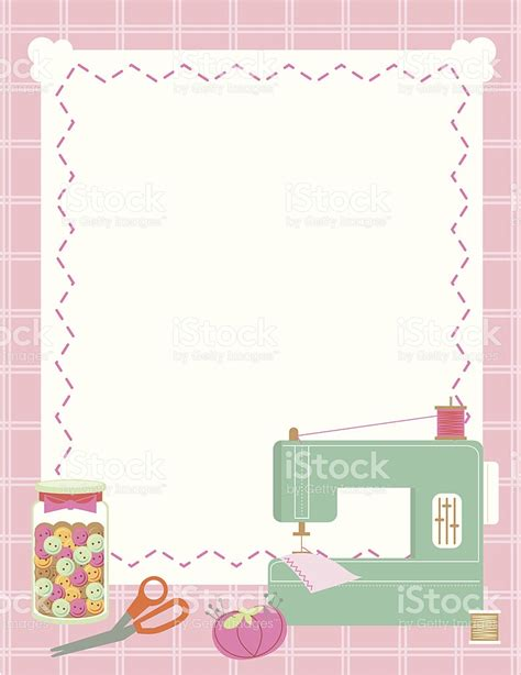 sewing borders design elements vector sewing machine and accessories border stock vector art