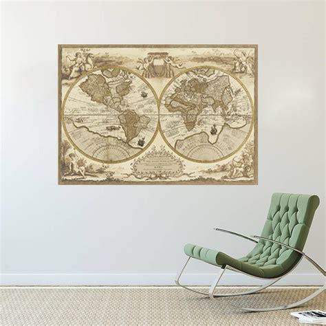 Vintage Decor Vintage Wall Poster vintage style retro world map poster home decoration wall map ancient picture top