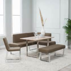 Modern light brown cushioned corner breakfast nook table has chrome