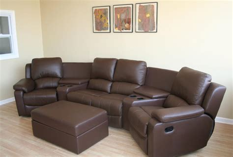 movie theater sectional black brown real genuine leather home theater seating