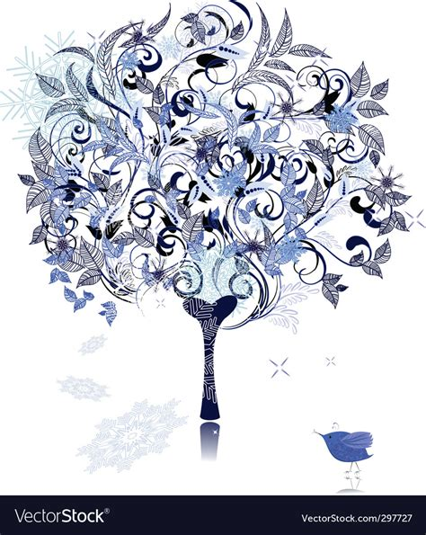winter tree snowflakes stock vector winter snow tree decorated royalty free vector image