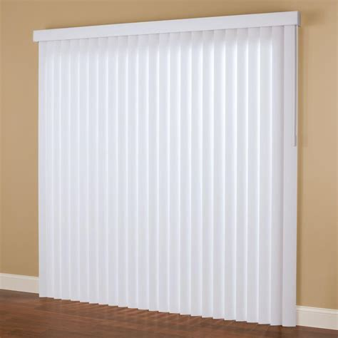 hton bay smooth white 3 5 in pvc vertical blind 66