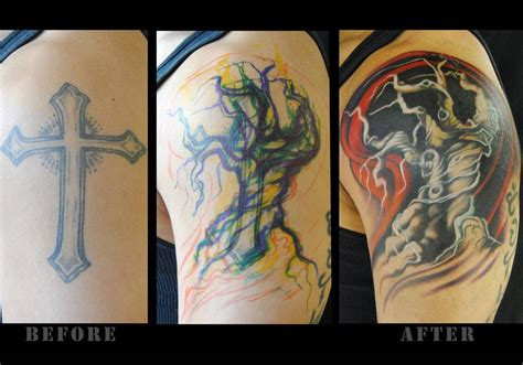 cover cross tattoo tree cover up by megan jean morris tattoonow