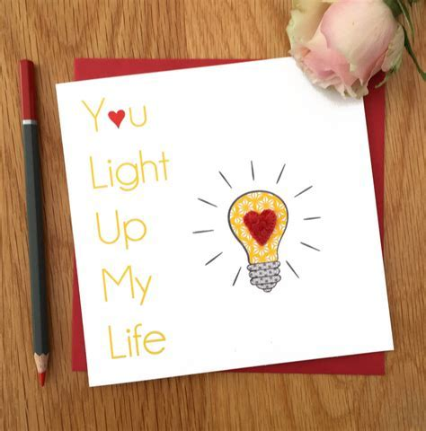 valentine's 'you light up my life' card for loved one by
