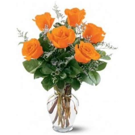 6 orange roses vase