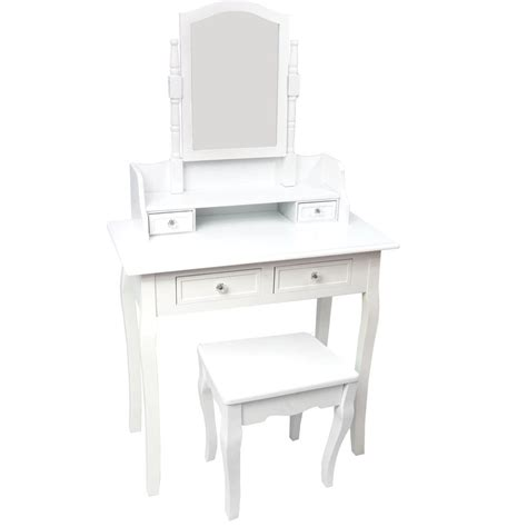 White Vanity Table With Drawers Nishano Dressing Table 4 Drawer With Stool White Bedroom Vanity Makeup Desk