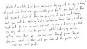 Of my life had been devoted to trying not to cry in front of people