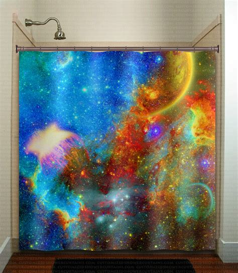 planet curtains rainbow nebula planet outer space galaxy shower by